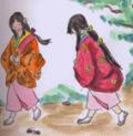 お城づとめのお姫さんがふたり山をころがるように、円光寺の境内まで逃げてきた。