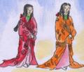 ある朝、いつものように鉄山和尚がお経を唱えていると、ふたりの姫が現れて「毎朝わたし達のためにありがとうございます。