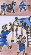 村人たちは力をあわせて、小さなお宮さんを建て淡島大明神として姫たちを祀った。